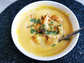 Soupe butternut, carottes et crevettes sautées au curry