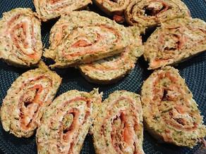 Roulé de courgettes au saumon fumé et fromage frais