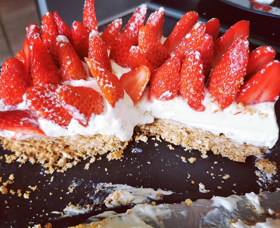 Tarte aux fraises, chantilly sans cuisson