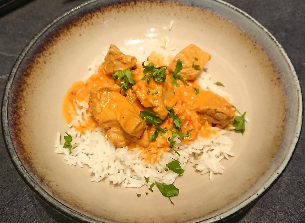 Colombo de porc sauce coco et riz basmati avec le companion de Moulinex et Tupperxware