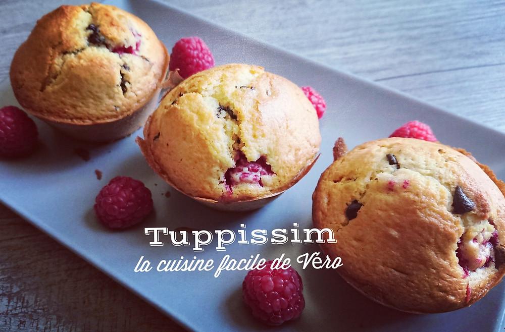 Muffins moelleux à la framboise et aux pépites de chocolat