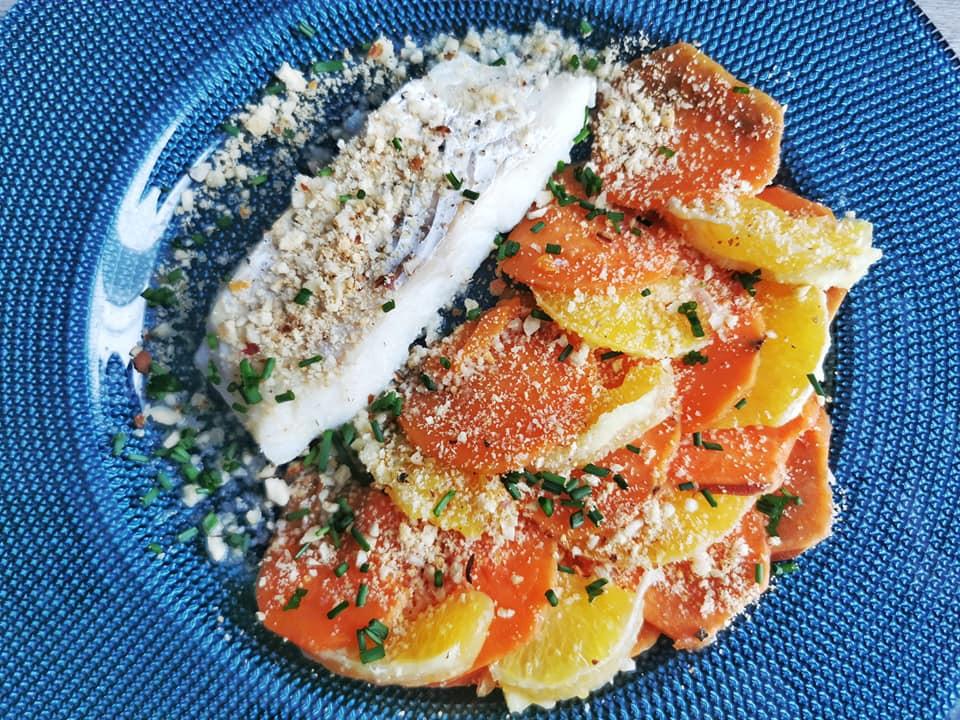 Cabillaud orange, patate douce et crumble noisette
