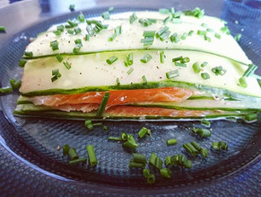 Lasagnes de concombre, saumon et fromage frais