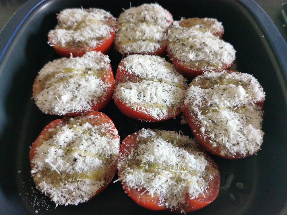 tomates provençales parmesan avant cuisson