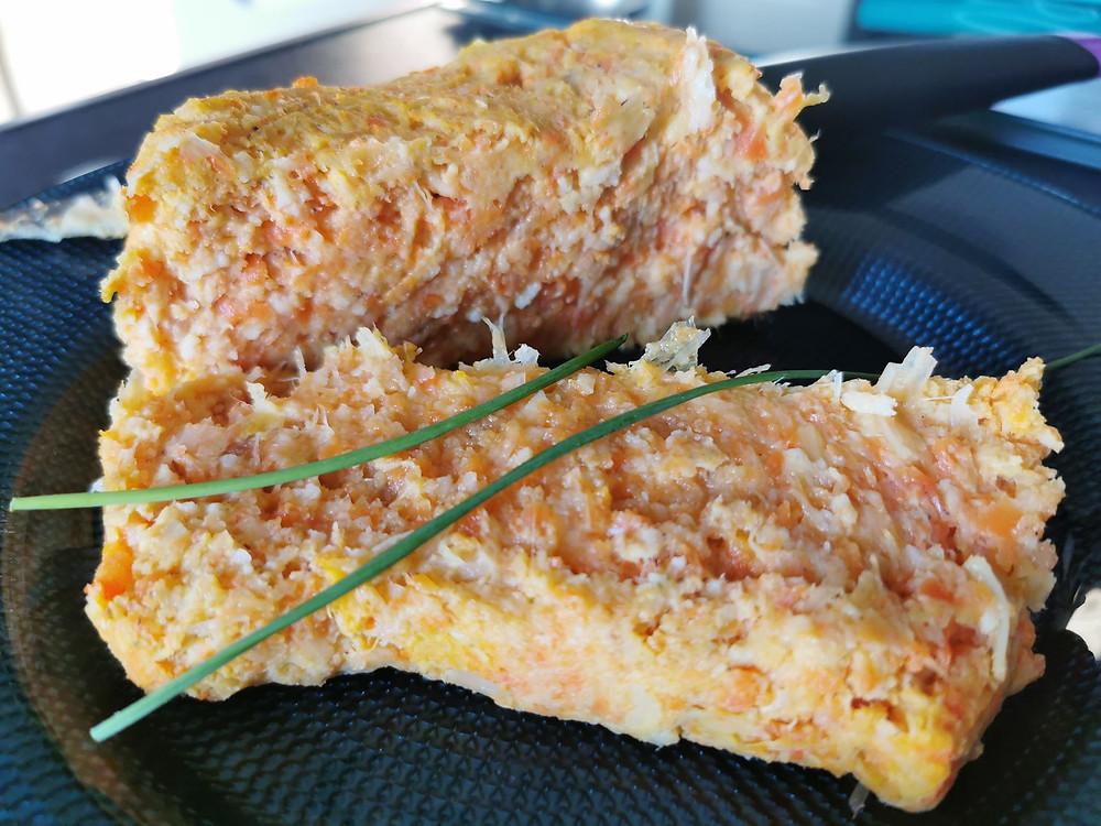 Tranche de terrine de légumes aux carottes et poireaux