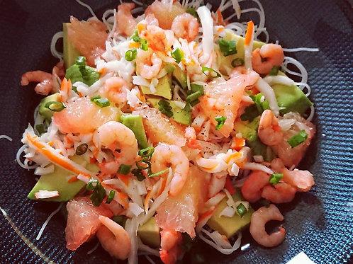Fiche recette : Salade Thai avocat, crevettes et pamplemousse