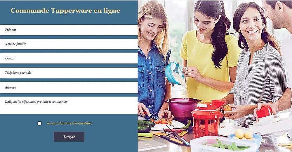 Commande tupperware en ligne, formulaire, contact