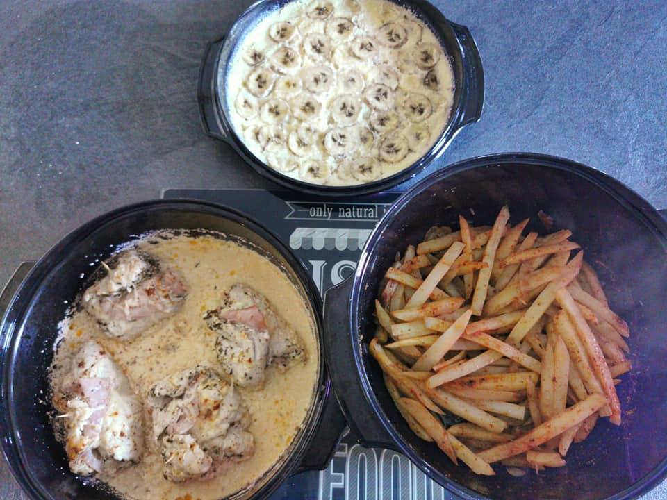 saltimbocca de poulet, potatoes, flan coco banane