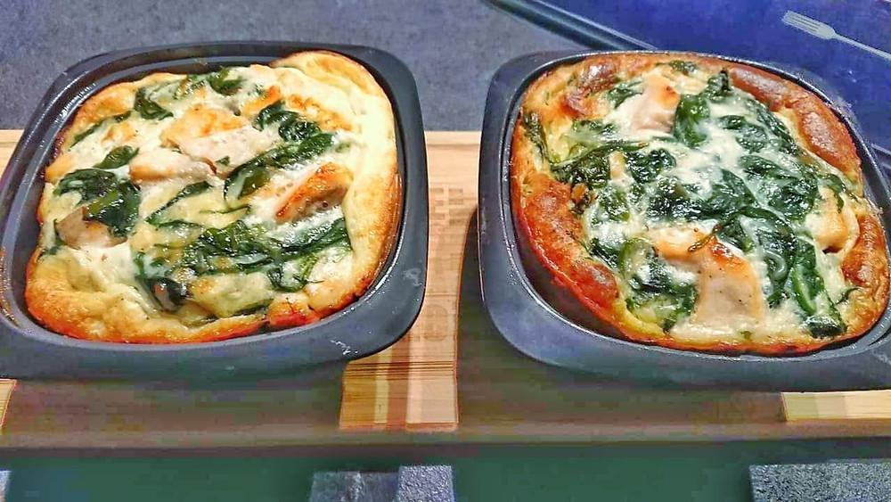 Clafoutis saumon épinards dans terrines ultra pro 500 ml