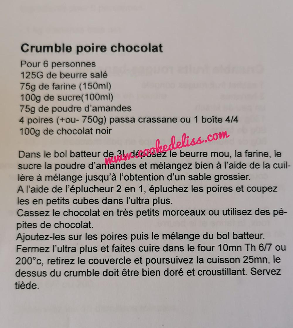 recette crumble pore chocolat dans ultra pro 2l
