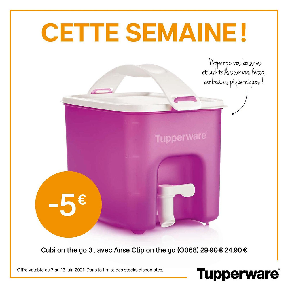 Cubi on the go 3 litres Tupperware rose, promotions