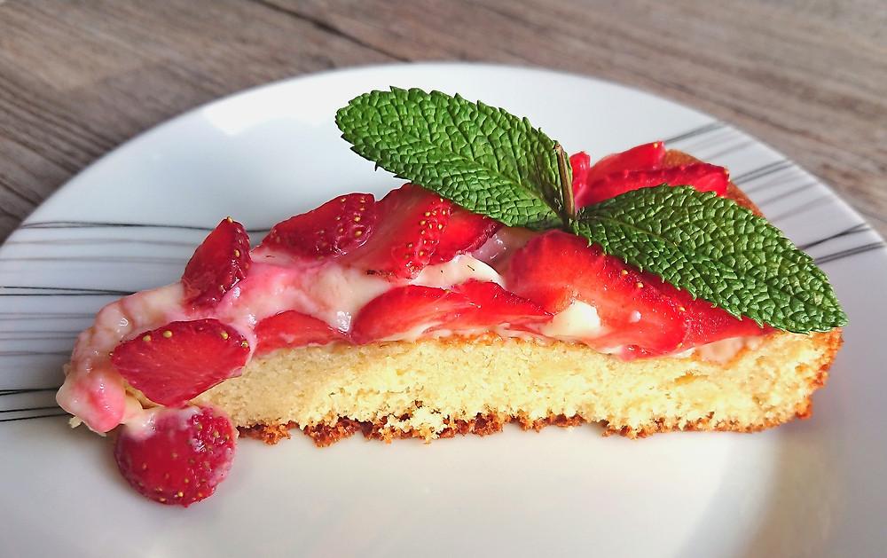 Gateau aux fraises vue de l'intérieure