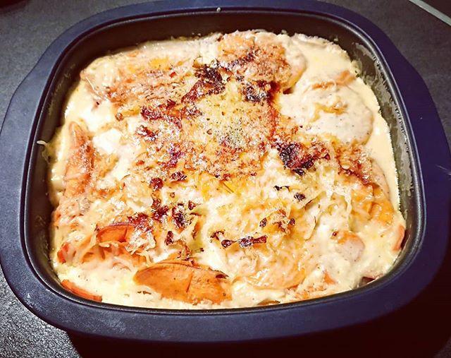 Un délicieux gratin de patates douces et chorizo doré et gourmand au micro ondes grace au Micro Pro Grill Tupperware