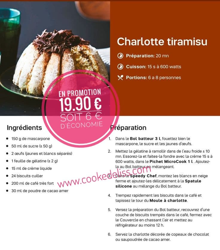 Charlotte tiramisu Tupperware