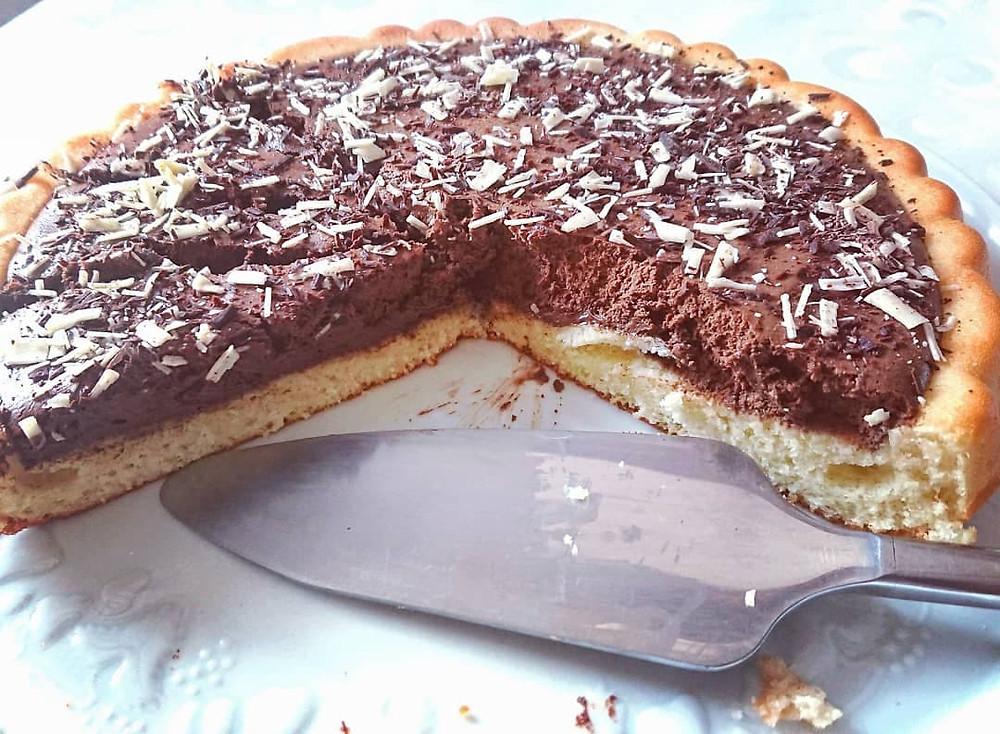 Intérieur tarte choco-coco à la mousse au chocolat