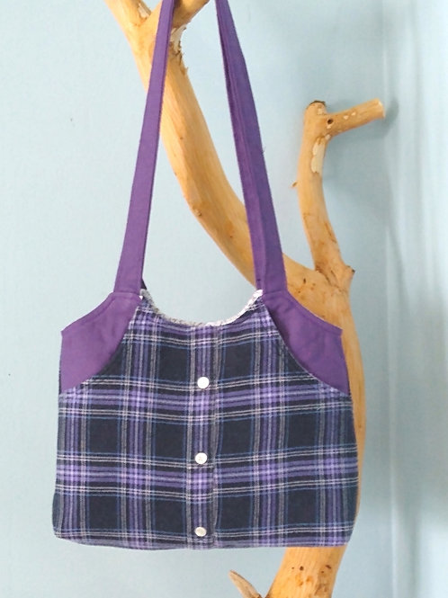 Purple Plaid Flannel Shirt Pocketbook
