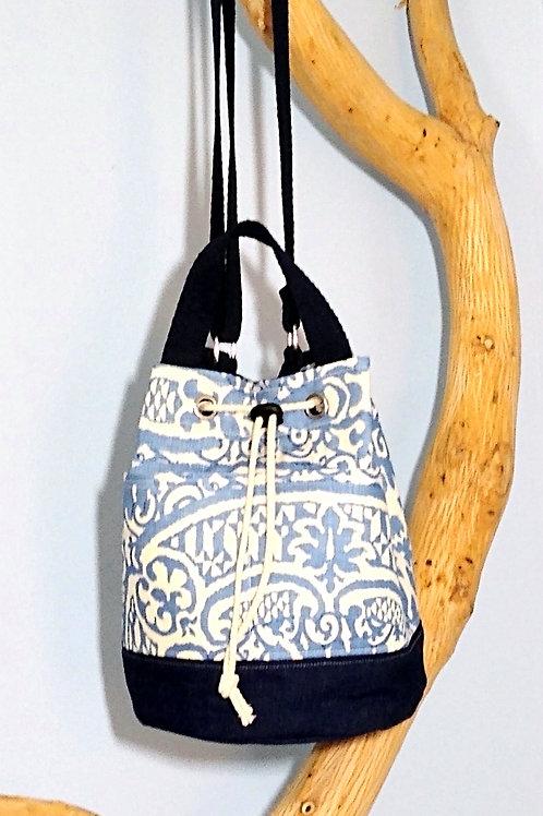 Blue Graphic Print Bucket Bag
