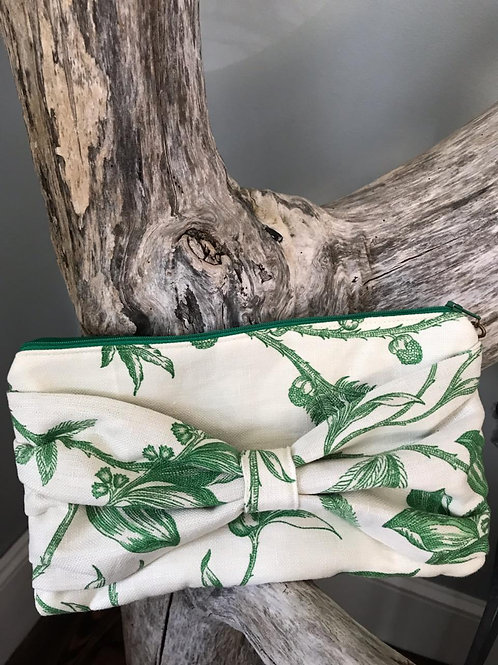 Green and Cream Floral Clutch