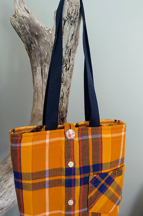 Small Flannel Shirt Tote