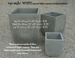 vp-sqlc  WHITE square light cement pot