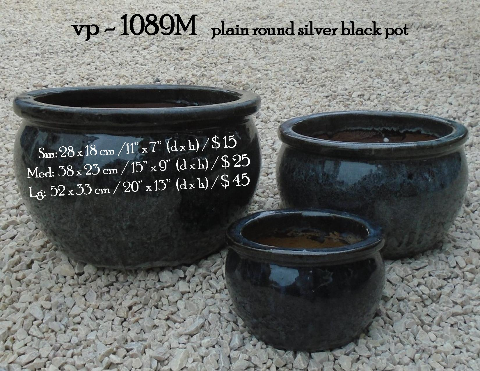 vp - 1089M   plain round silver black po