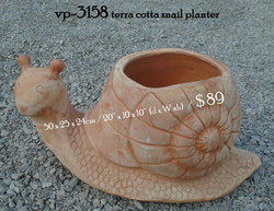 vp-3158 terra cotta snail planter