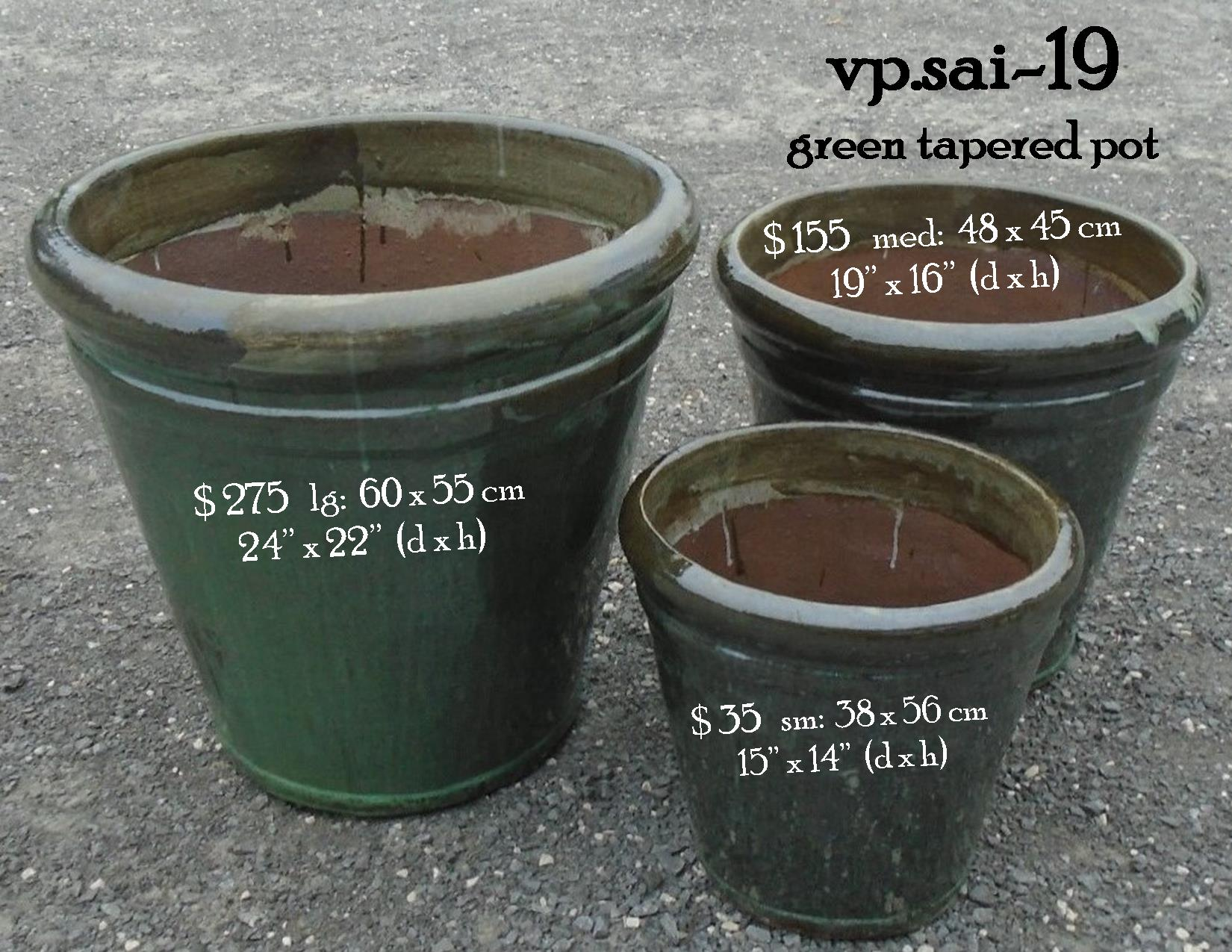 vp.sai-19    green tapered pot