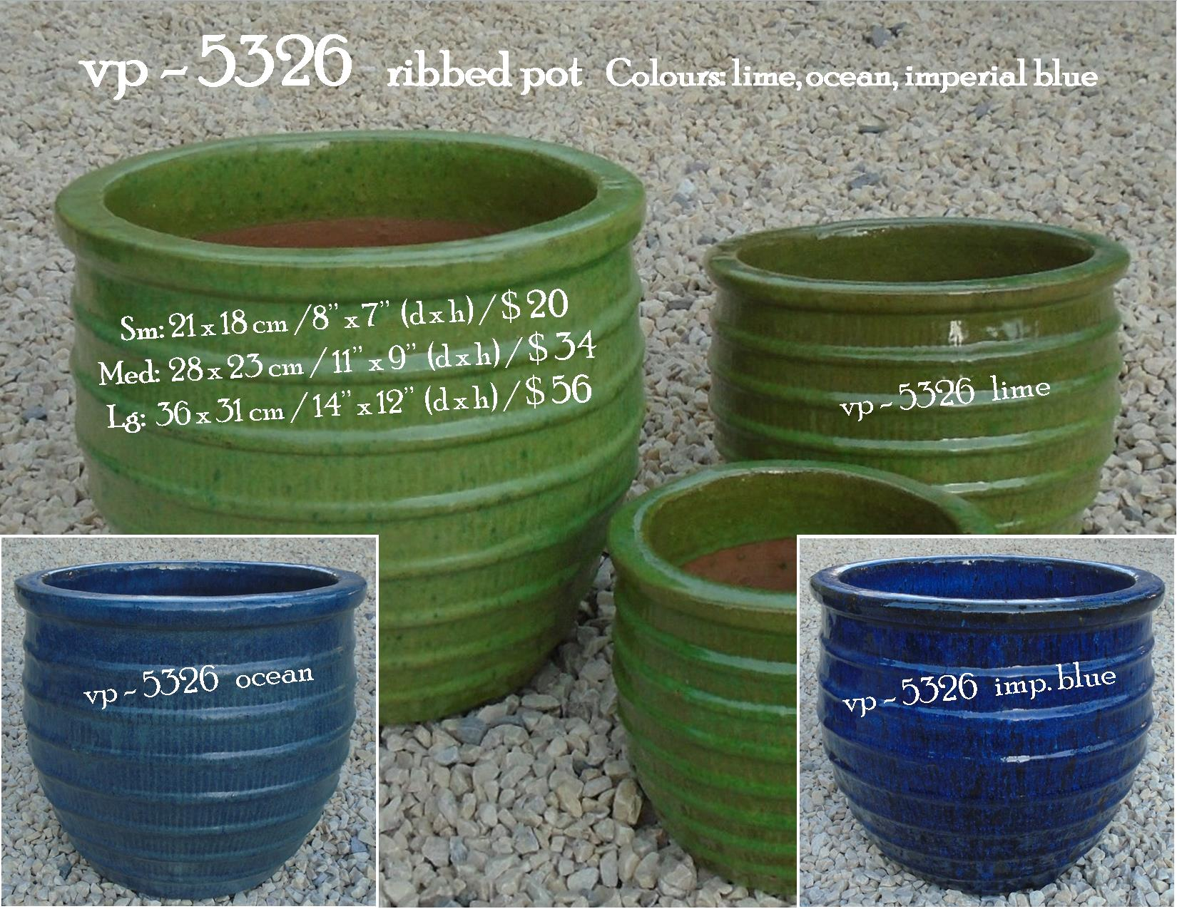 vp - 5326   ribbed pot