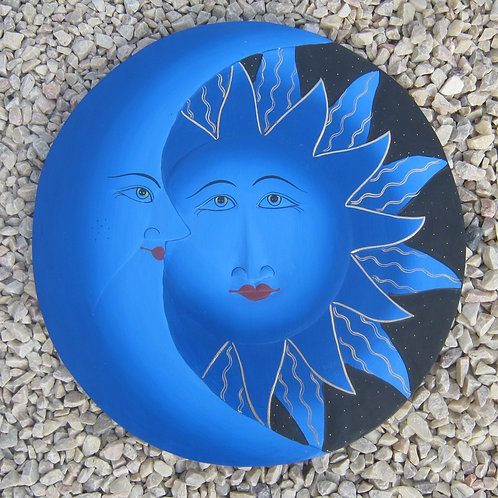 inwp-42532b - blue painted sun-moon plaque