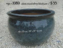vp - 1089   plain round silver black pot