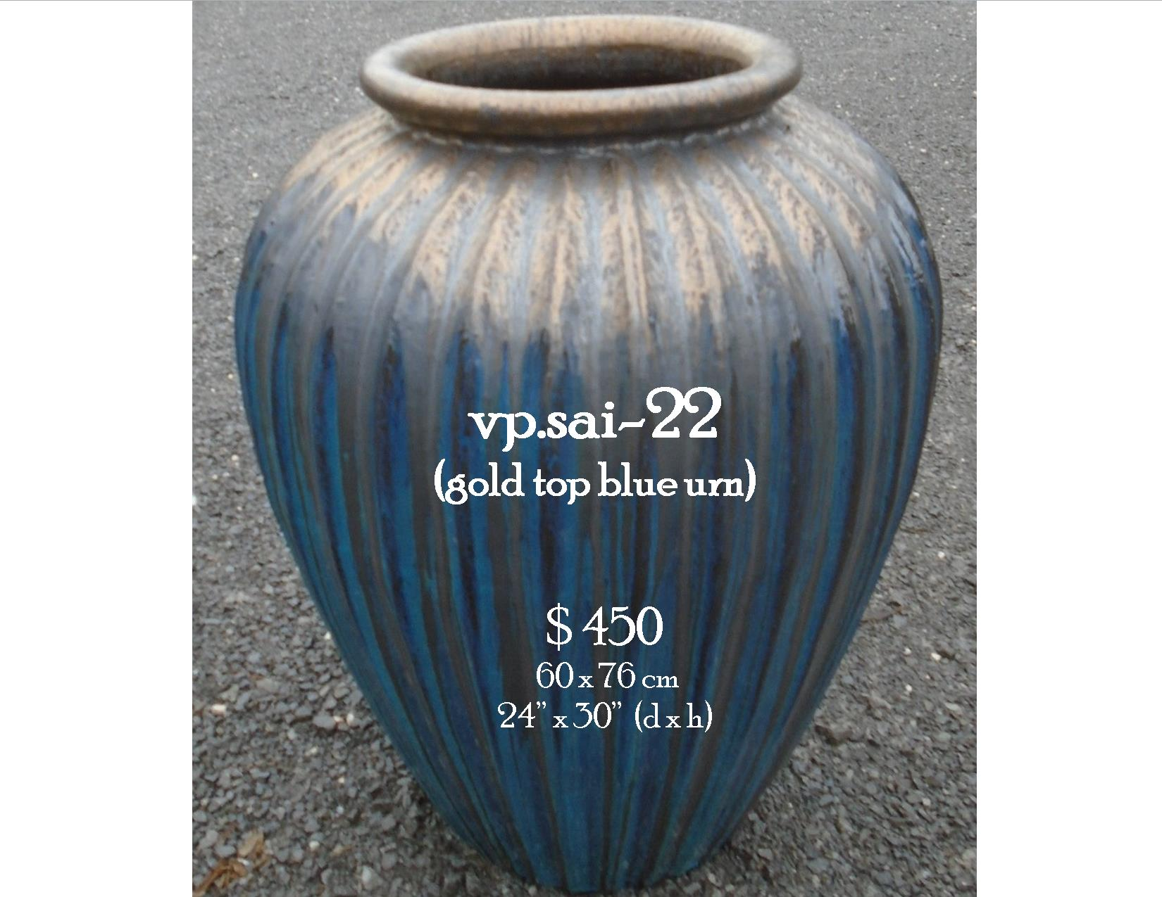 vp.sai-22  gold top blue urn