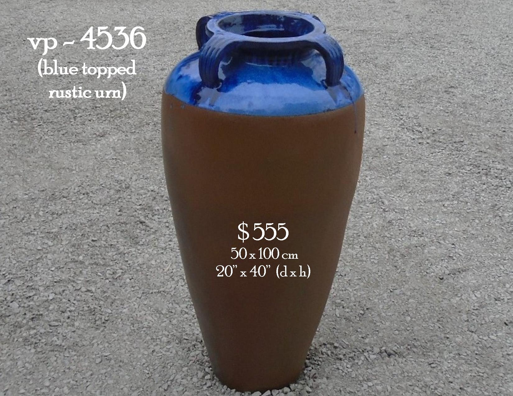 vp - 4536  blue top rustic urn