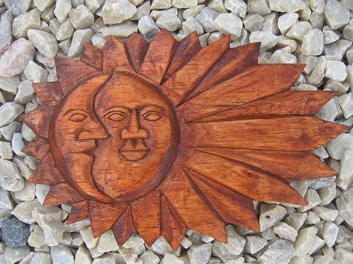 inwp-01DK - natural wood sun-moon plaque