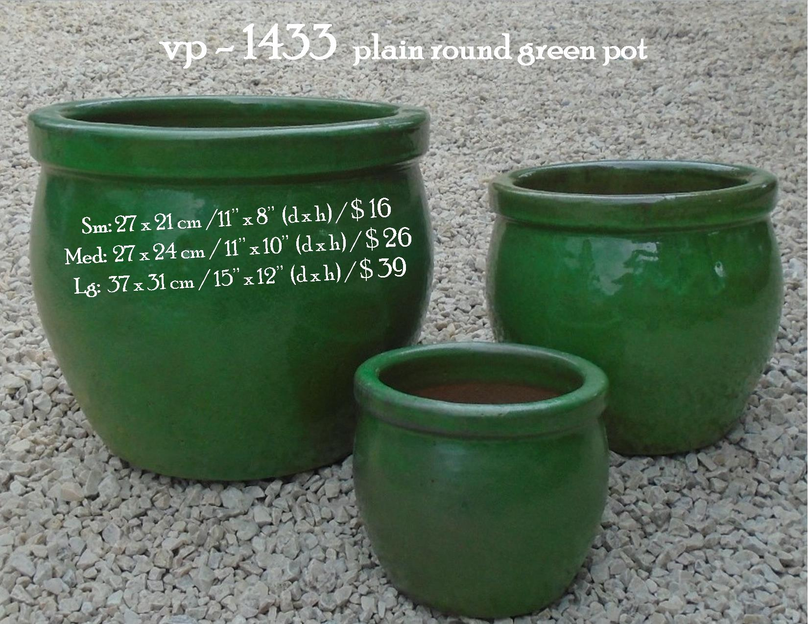 vp - 1433  plain round green pot