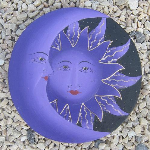 inwp-42533p - purple painted sun-moon plaque