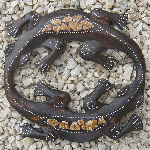 inwp-34939c - crackle finish circle geckos plaque