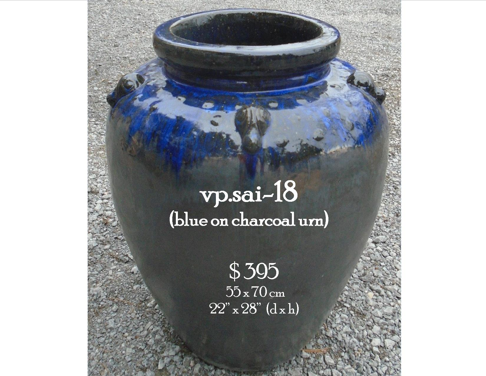 vp.sai-18  blue on charcoal urn