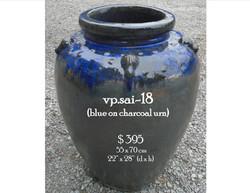vp.sai-18  blue on charcoal urn