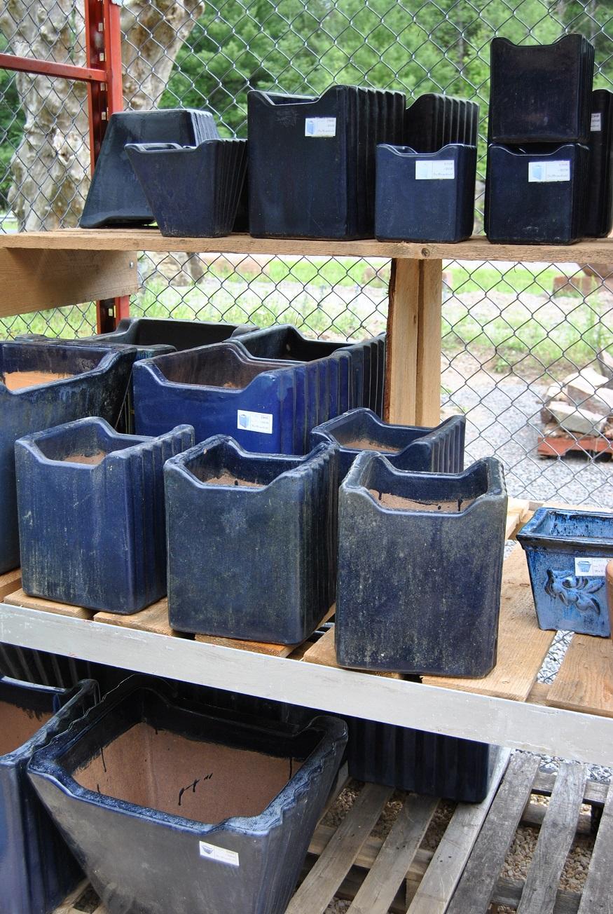 blue striped pots