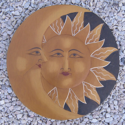 inwp-42532a - antique painted sun-moon plaque
