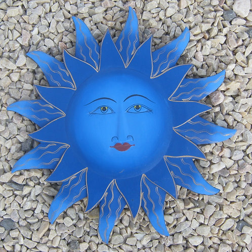 inwp-42002b - blue painted sun plaque