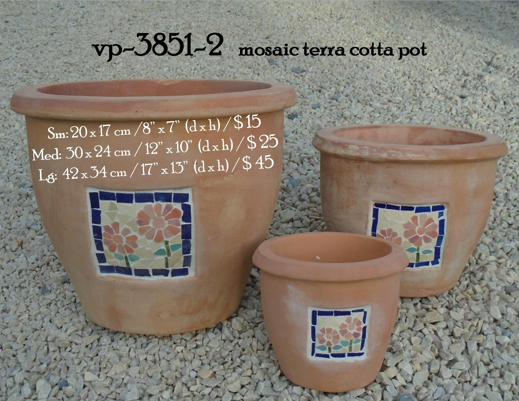vp-3851-2   mosaic terra cotta pot