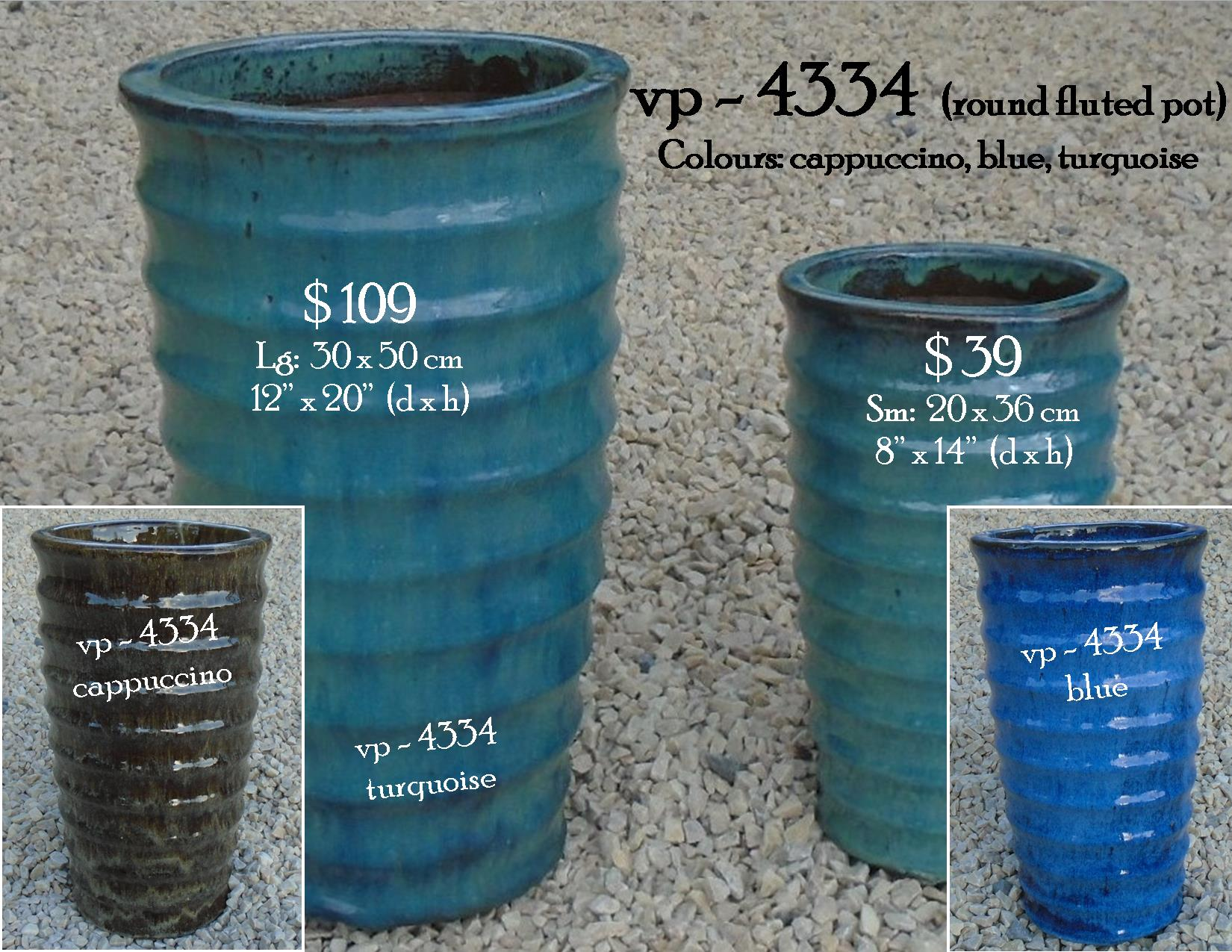vp - 4334  round fluted pot