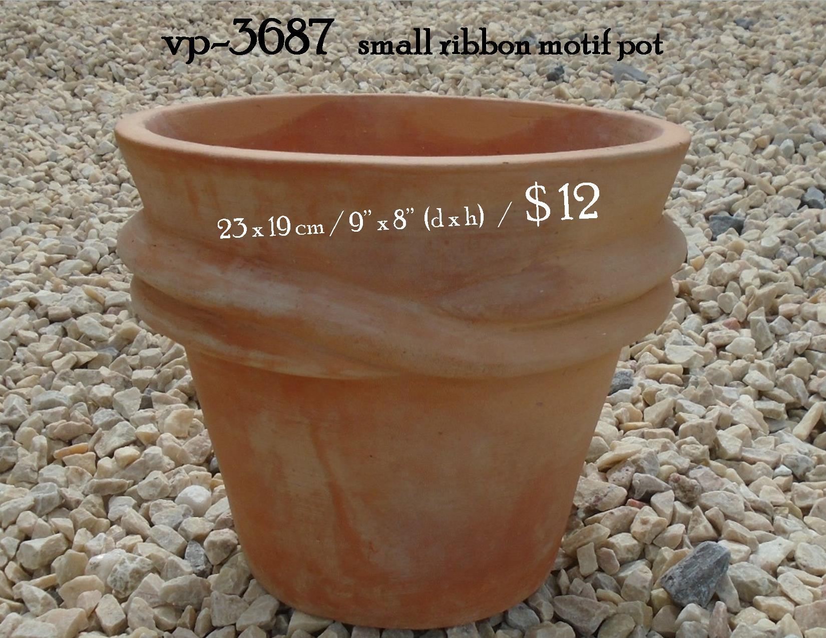 vp-3687   small ribbon motif pot