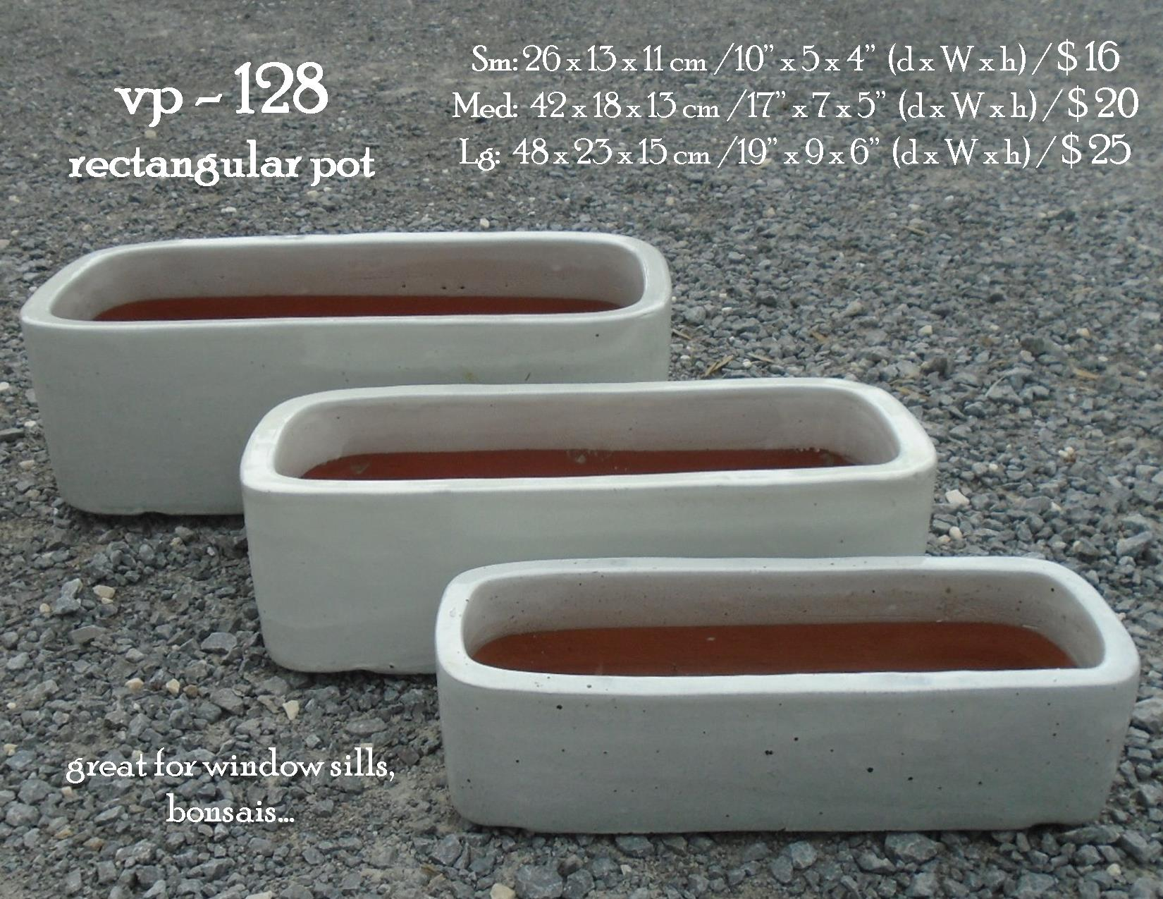 vp - 128 rectangular pot