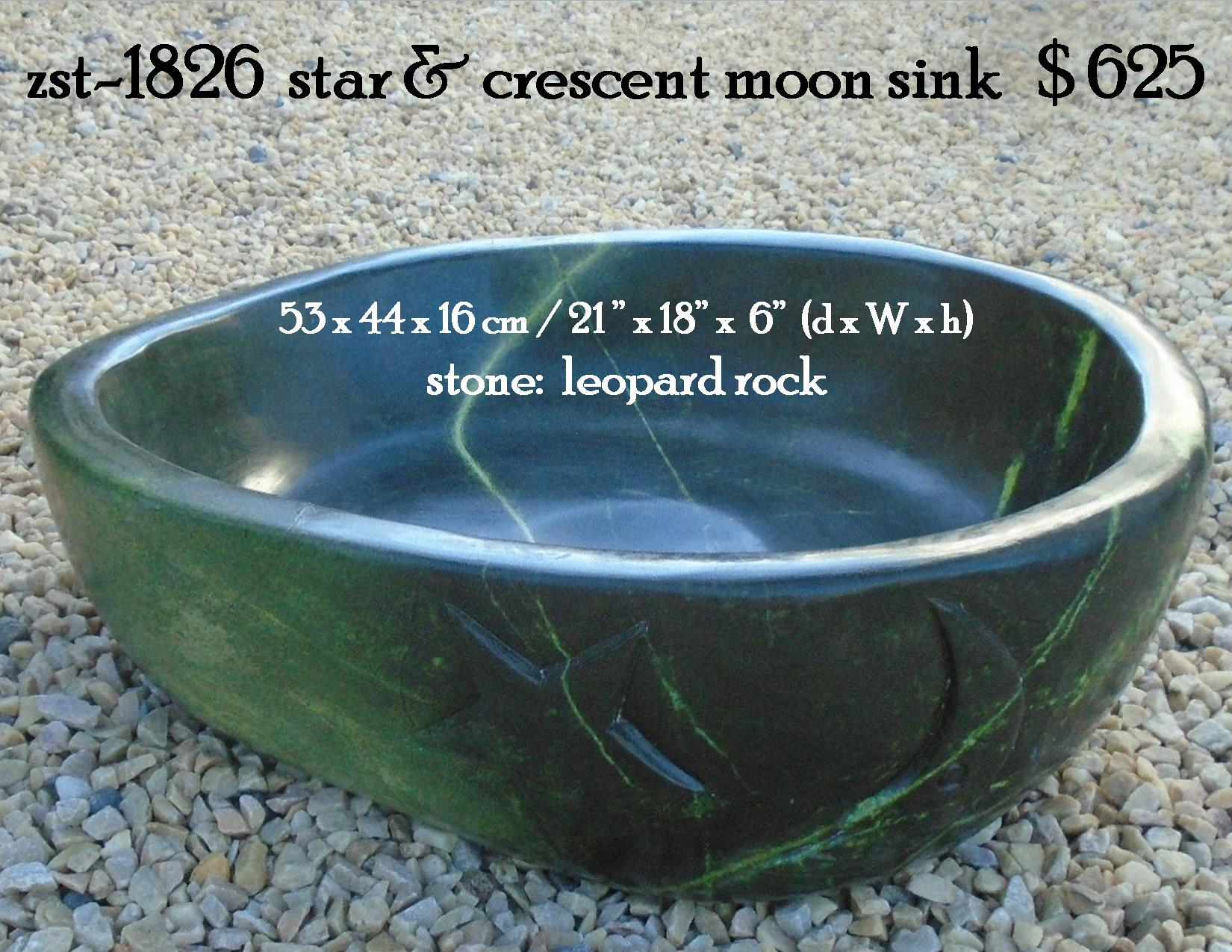 zst-1826  star & crescent moon sink