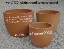 vp-3715   plain round terra cotta pot