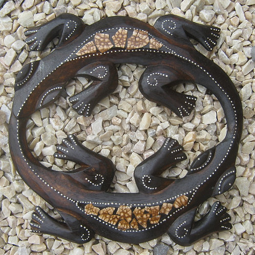 inwp-34940c - crackle finish circle geckos plaque