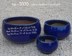 vp - 5335    plain shallow round pot   .