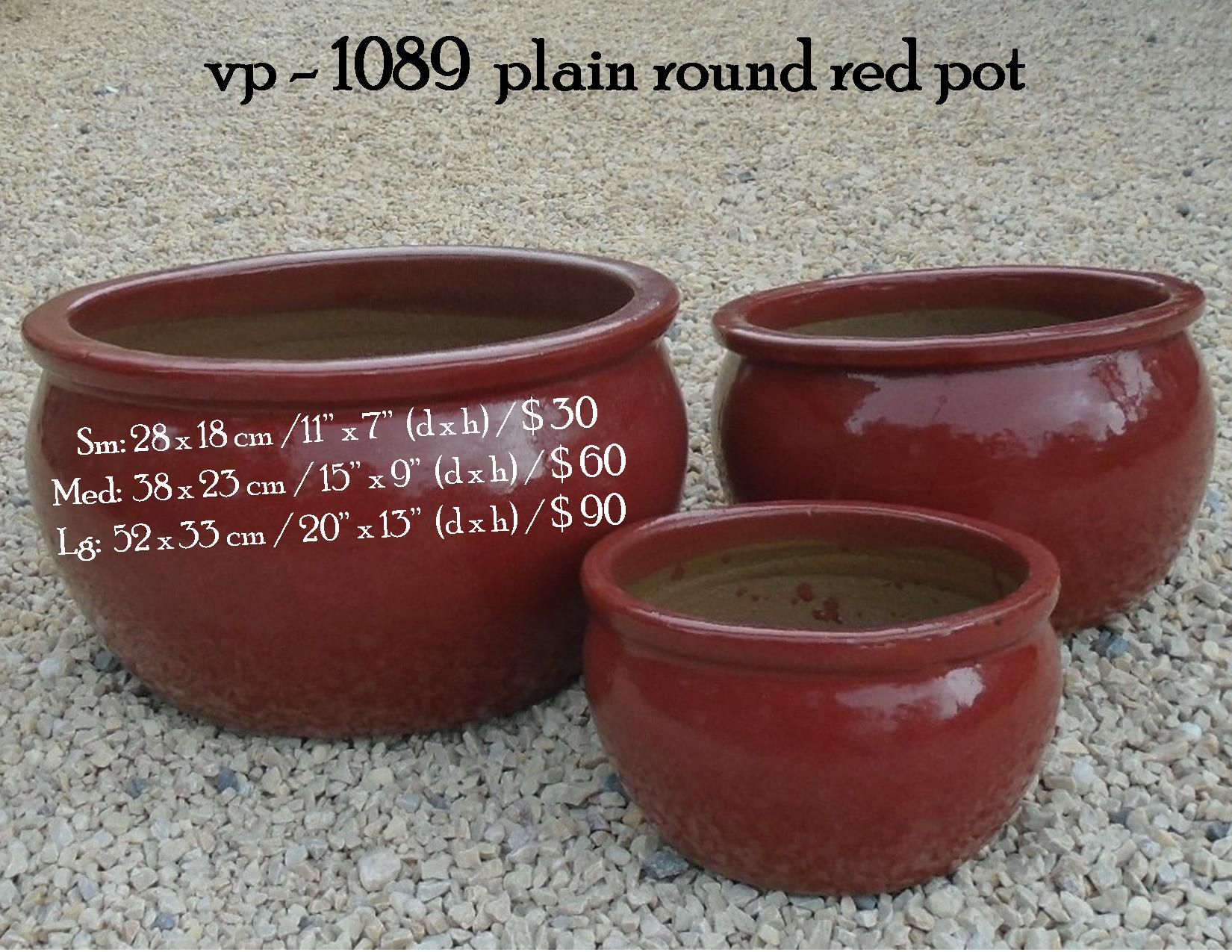 vp - 1089  plain round red pot